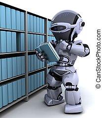 estante libros, robot