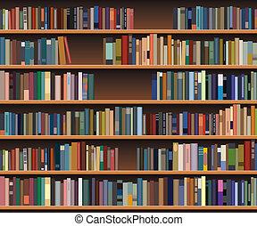 estante libros, vector