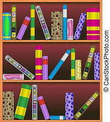 estante libros, vector, ilustración