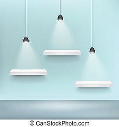 estante, para, exhibición, blanco, plantilla, y, luz