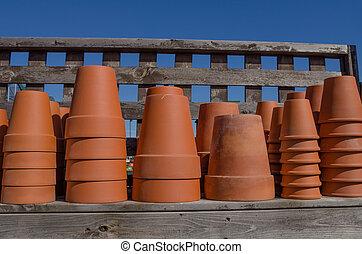 estante, terracota conserva, plantador