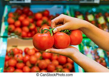 estante, tomates, supermercado, fresco