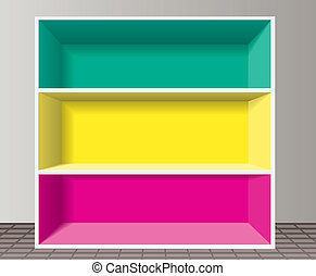 estante, vetorial, coloridos, vazio