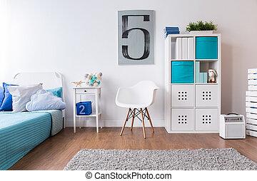 estantería, luz, moderno, cama, colores, niño, dormitorio,...