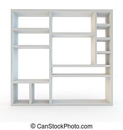 estantería, moderno, laminado, blanco, unidad, muebles