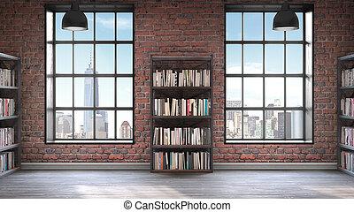 estantería, piso, windows, grande, concreto, estilo, dos, desván, interior