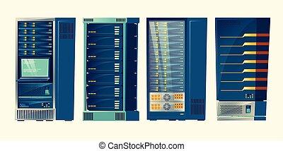 estantes, centro, base de datos, habitación, servidor, vector, datos