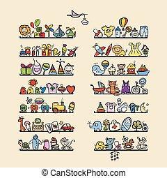 estantes, con, bebé, iconos, para, su, diseño