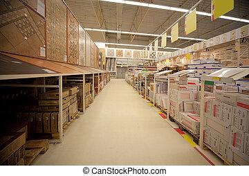 estantes, con, mosaico cerámico, en, almacén, de, materiales...