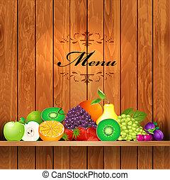 estantes, de madera, jugoso, fruta, diseño, su