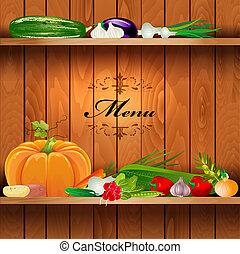 estantes, de madera, vegetales, diseño, fresco, su