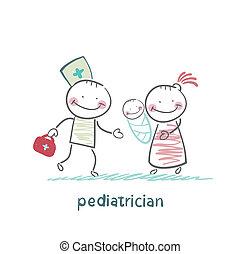 estantes, ella, madre, luego, pediatra, niño enfermo