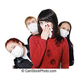 estantes, enfermo, máscara, atrás, influenza, niña, era, ...