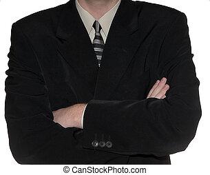 estantes, joven, brazos, pliegue, expectante, plano de fondo, hombre de negocios, blanco