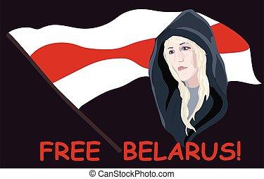 estantes, libertad, lágrimas, belarusian, libre, red-white, flag., mujer, belarus., belarus