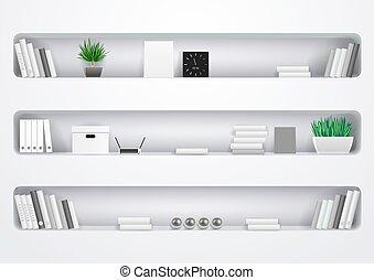 estantes, oficina, gabinete