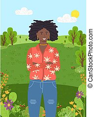 estantes, sol, park., árboles, cielo verde, plano de fondo, joven, bosque, niña, de piel oscura, claro, o