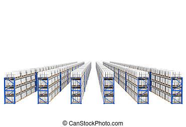 estantes, x, 60., cima, perspectiva, vista., parte de, un, azul, almacén, y, logística, serie.