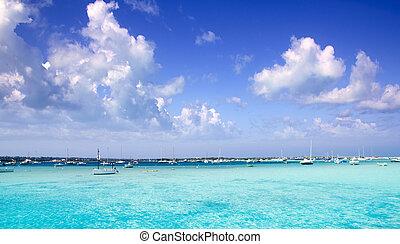 estany des peix in Formentera lake anchor boats ...