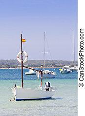 estany des peix in Formentera lake anchor boats