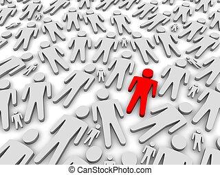 estar, de, a, multidão., 3d, representado, illustration.