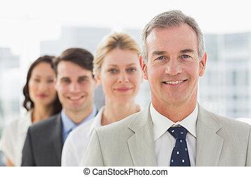 estar sorrindo, linha, equipe negócio