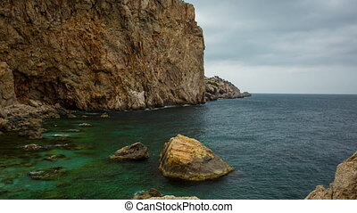 estartit coast sea spain mediterranean timelapse rocks cliff...