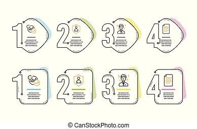 estatísticas, ícones, sinal., consultor, vetorial, arquivo, segurança, apoio, set.