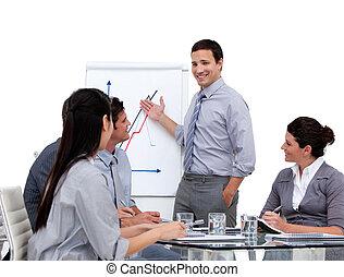 estatísticas, apresentando, homem negócios, companhia, jovem