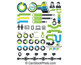 estatísticas, -, elementos, infographics