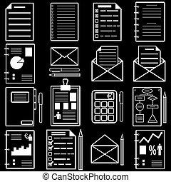 estatísticas, illustration., icons., analytics, vetorial, arquivo