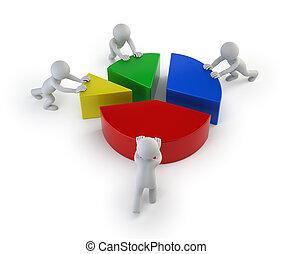 estatísticas, pessoas,  -, Trabalho equipe, pequeno,  3D