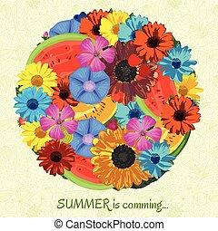 estate, è, venuta, fondo