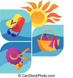 estate, -2, spiaggia, mare, icone