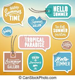 estate, adesivi, etichette, vacanza, vacanza