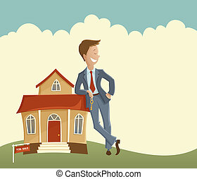 Vector illustration of man holding the key and leaning on the house