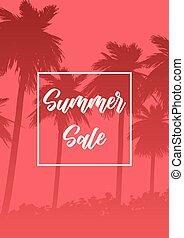estate, albero, vendita, silhouette, palma, fondo