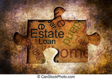 Estate and loan grunge concept