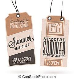 estate, appendere, vendite, etichette