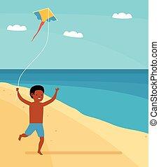 estate, aquilone, famiglia, ragazzo, mano., time., correndo, spiaggia, leisure., felice