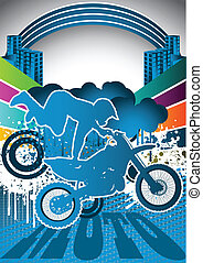 estate, astratto, motociclista, manifesto