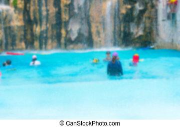 estate, astratto, parco, acqua, offuscamento, divertimento