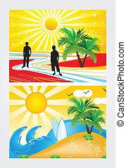 estate, astratto, vacanza, tema