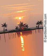 estate, astratto, vettore, tramonto, tema