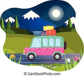 estate, bagaglio, automobile, vacanza, tetto, pronto