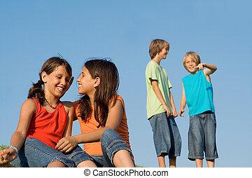 estate, bambini scuola, gruppo, campeggiare, o