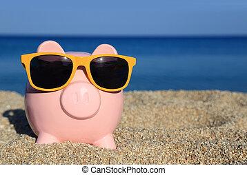 estate, banca piggy, con, occhiali da sole, spiaggia