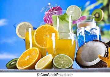 estate, bevanda, spiaggia, fondo