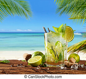 estate, bevanda, spiaggia, fondo, offuscamento