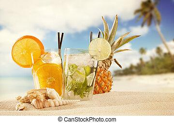 estate, bibite, spiaggia, fondo, offuscamento